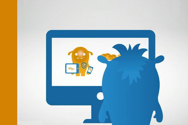 AWITE Maskottchen sitzt vor einem Computer