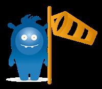 Icon - Durchflussmessung - blaues AWITE Maskottchen mit Windhose