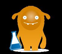 Icon - AWITE Bioenergie Maskottchen mit Reagenzglas - Laboranlagen
