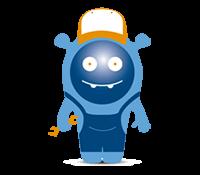 Icon - Blaues AWITE Maskottchen als Servicetechniker verkleidet