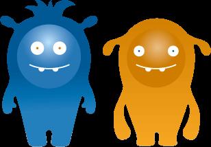 Icon - Blaues und Gelbes AWITE Bioenergie Maskottchen nebeneinander
