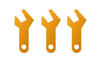 Icon - Service LARS - Drei gelbe Schraubenschlüssel